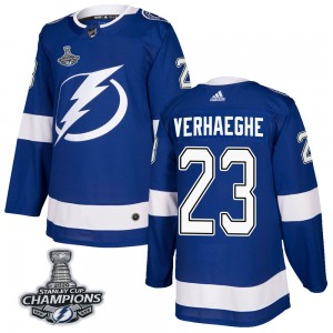 Tampa Bay Lightning Carter Verhaeghe Official Blue Adidas Authentic Adult Home 2020 Stanley Cup Champions NHL Hockey Jersey