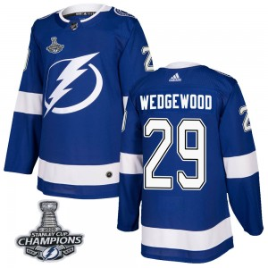 Tampa Bay Lightning Scott Wedgewood Official Blue Adidas Authentic Adult Home 2020 Stanley Cup Champions NHL Hockey Jersey