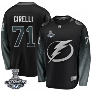 Tampa Bay Lightning Anthony Cirelli Official Black Fanatics Branded Breakaway Adult Alternate 2020 Stanley Cup Champions NHL Hoc