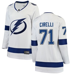 Tampa Bay Lightning Anthony Cirelli Official White Fanatics Branded Breakaway Women's Away NHL Hockey Jersey