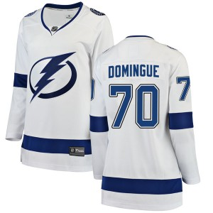 Tampa Bay Lightning Louis Domingue Official White Fanatics Branded Breakaway Women's Away NHL Hockey Jersey