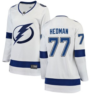 Tampa Bay Lightning Victor Hedman Official White Fanatics Branded Breakaway Women's Away NHL Hockey Jersey