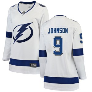 Tampa Bay Lightning Tyler Johnson Official White Fanatics Branded Breakaway Women's Away NHL Hockey Jersey