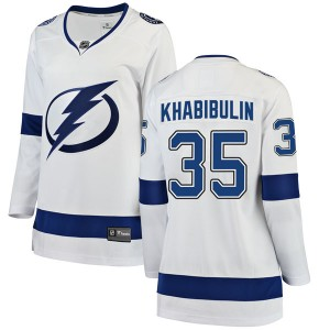 Tampa Bay Lightning Nikolai Khabibulin Official White Fanatics Branded Breakaway Women's Away NHL Hockey Jersey