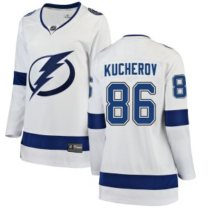 Tampa Bay Lightning Nikita Kucherov Official White Fanatics Branded Breakaway Women's Away NHL Hockey Jersey
