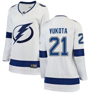 Tampa Bay Lightning Mick Vukota Official White Fanatics Branded Breakaway Women's Away NHL Hockey Jersey