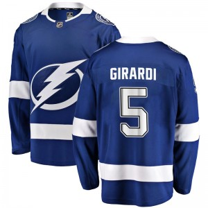 Tampa Bay Lightning Dan Girardi Official Blue Fanatics Branded Breakaway Youth Home NHL Hockey Jersey