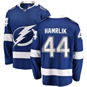 Tampa Bay Lightning Roman Hamrlik Official Blue Fanatics Branded Breakaway Youth Home NHL Hockey Jersey