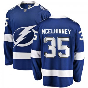 Tampa Bay Lightning Curtis McElhinney Official Blue Fanatics Branded Breakaway Youth Home NHL Hockey Jersey