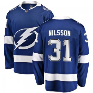 Tampa Bay Lightning Anders Nilsson Official Blue Fanatics Branded Breakaway Youth Home NHL Hockey Jersey