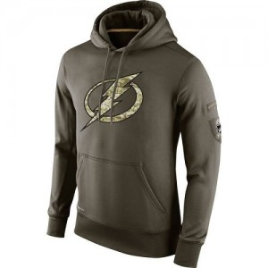 Tampa Bay Lightning Official Olive Nike Adult Salute To Service KO Performance Hoodie