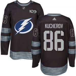 Tampa Bay Lightning Nikita Kucherov Official Black Adidas Authentic Adult 1917-2017 100th Anniversary NHL Hockey Jersey