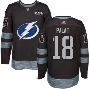 Tampa Bay Lightning Ondrej Palat Official Black Adidas Authentic Adult 1917-2017 100th Anniversary NHL Hockey Jersey