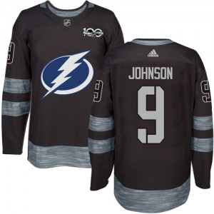 Tampa Bay Lightning Tyler Johnson Official Black Adidas Authentic Adult 1917-2017 100th Anniversary NHL Hockey Jersey