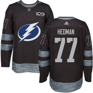 Tampa Bay Lightning Victor Hedman Official Black Adidas Authentic Adult 1917-2017 100th Anniversary NHL Hockey Jersey