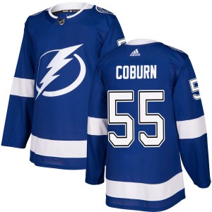 Tampa Bay Lightning Braydon Coburn Official Blue Adidas Authentic Adult NHL Hockey Jersey