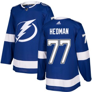 Tampa Bay Lightning Victor Hedman Official Blue Adidas Authentic Adult NHL Hockey Jersey
