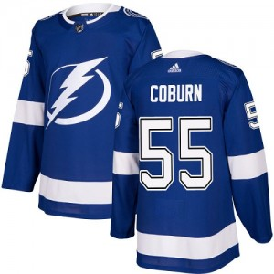 Tampa Bay Lightning Braydon Coburn Official Royal Blue Adidas Authentic Youth Home NHL Hockey Jersey