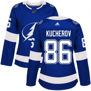 Tampa Bay Lightning Nikita Kucherov Official Royal Blue Adidas Authentic Women's Home NHL Hockey Jersey