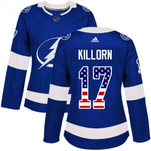 Tampa Bay Lightning Alex Killorn Official Blue Adidas Authentic Women's USA Flag Fashion NHL Hockey Jersey