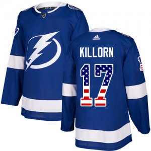 Tampa Bay Lightning Alex Killorn Official Blue Adidas Authentic Youth USA Flag Fashion NHL Hockey Jersey