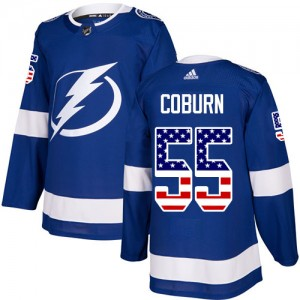Tampa Bay Lightning Braydon Coburn Official Blue Adidas Authentic Adult USA Flag Fashion NHL Hockey Jersey