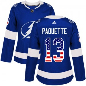 Tampa Bay Lightning Cedric Paquette Official Blue Adidas Authentic Women's USA Flag Fashion NHL Hockey Jersey