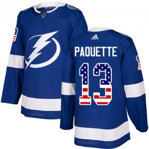 Tampa Bay Lightning Cedric Paquette Official Blue Adidas Authentic Youth USA Flag Fashion NHL Hockey Jersey