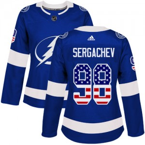 Tampa Bay Lightning Mikhail Sergachev Official Blue Adidas Authentic Women's USA Flag Fashion NHL Hockey Jersey