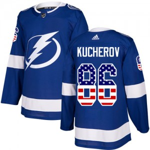 Tampa Bay Lightning Nikita Kucherov Official Blue Adidas Authentic Adult USA Flag Fashion NHL Hockey Jersey