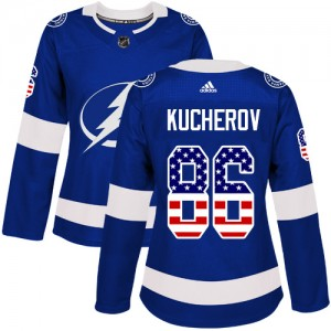 Tampa Bay Lightning Nikita Kucherov Official Blue Adidas Authentic Women's USA Flag Fashion NHL Hockey Jersey