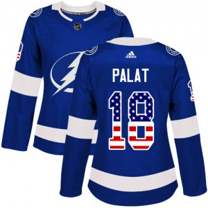 Tampa Bay Lightning Ondrej Palat Official Blue Adidas Authentic Women's USA Flag Fashion NHL Hockey Jersey