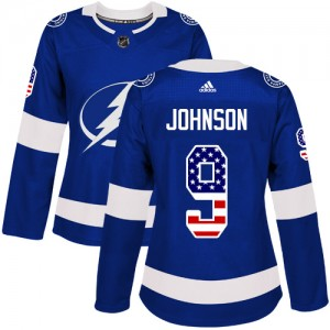Tampa Bay Lightning Tyler Johnson Official Blue Adidas Authentic Women's USA Flag Fashion NHL Hockey Jersey