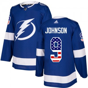 Tampa Bay Lightning Tyler Johnson Official Blue Adidas Authentic Youth USA Flag Fashion NHL Hockey Jersey