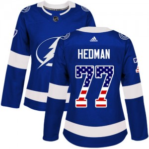 Tampa Bay Lightning Victor Hedman Official Blue Adidas Authentic Women's USA Flag Fashion NHL Hockey Jersey
