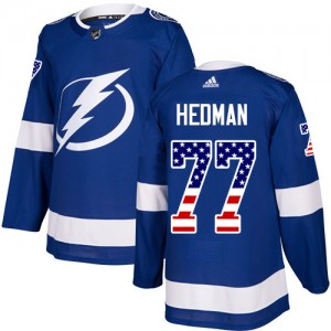 Tampa Bay Lightning Victor Hedman Official Blue Adidas Authentic Youth USA Flag Fashion NHL Hockey Jersey