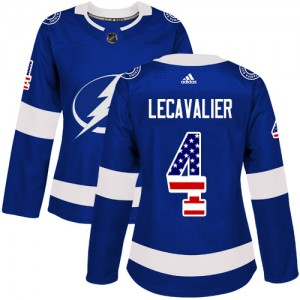 Tampa Bay Lightning Vincent Lecavalier Official Blue Adidas Authentic Women's USA Flag Fashion NHL Hockey Jersey