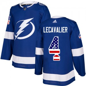 Tampa Bay Lightning Vincent Lecavalier Official Blue Adidas Authentic Youth USA Flag Fashion NHL Hockey Jersey