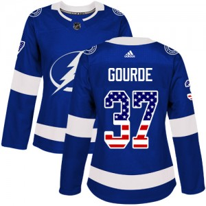 Tampa Bay Lightning Yanni Gourde Official Blue Adidas Authentic Women's USA Flag Fashion NHL Hockey Jersey