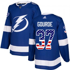 Tampa Bay Lightning Yanni Gourde Official Blue Adidas Authentic Youth USA Flag Fashion NHL Hockey Jersey