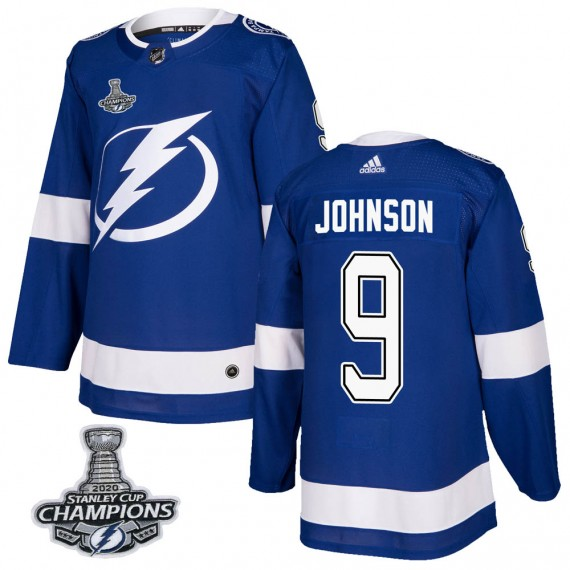 Tampa Bay Lightning Tyler Johnson Official Blue Adidas Authentic Youth Home 2020 Stanley Cup Champions NHL Hockey Jersey