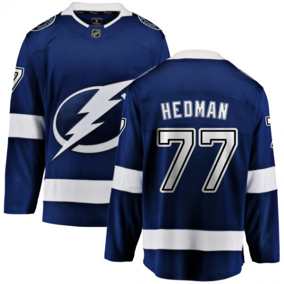 Tampa Bay Lightning Victor Hedman Official Blue Fanatics Branded Breakaway Youth Home NHL Hockey Jersey