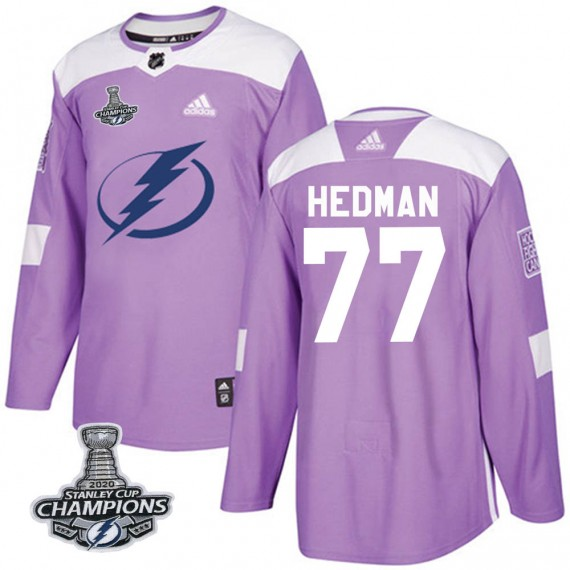Tampa Bay Lightning Victor Hedman Official Purple Adidas Authentic Adult Fights Cancer Practice 2020 Stanley Cup Champions NHL H