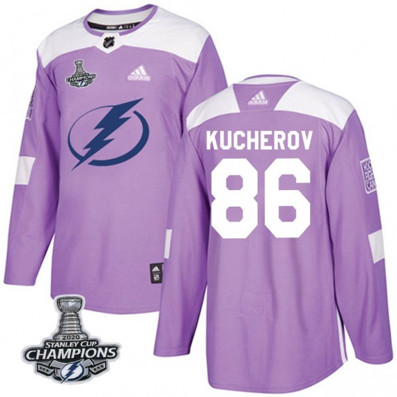 Tampa Bay Lightning Nikita Kucherov Official Purple Adidas Authentic Youth Fights Cancer Practice 2020 Stanley Cup Champions NHL