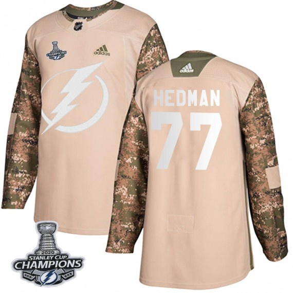 Tampa Bay Lightning Victor Hedman Official Camo Adidas Authentic Youth Veterans Day Practice 2020 Stanley Cup Champions NHL Hock