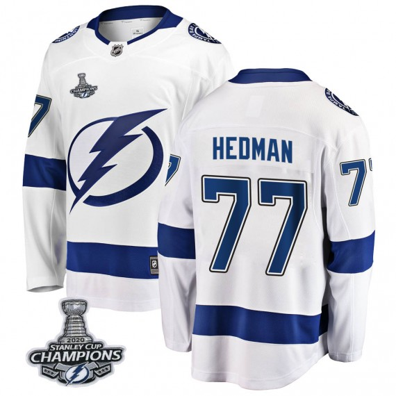 Tampa Bay Lightning Victor Hedman Official White Fanatics Branded Breakaway Adult Away 2020 Stanley Cup Champions NHL Hockey Jer