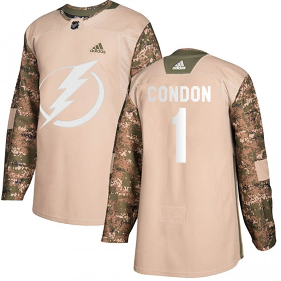 Tampa Bay Lightning Mike Condon Official Camo Adidas Authentic Youth Veterans Day Practice NHL Hockey Jersey
