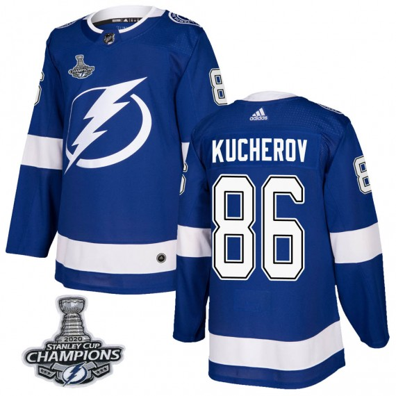 Tampa Bay Lightning Nikita Kucherov Official Blue Adidas Authentic Adult Home 2020 Stanley Cup Champions NHL Hockey Jersey