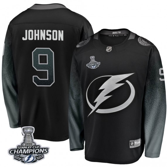 Tampa Bay Lightning Tyler Johnson Official Black Fanatics Branded Breakaway Adult Alternate 2020 Stanley Cup Champions NHL Hocke