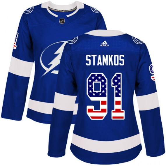 Tampa Bay Lightning Steven Stamkos Official Blue Adidas Authentic Women's USA Flag Fashion NHL Hockey Jersey